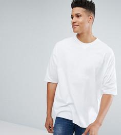 Длинная оверсайз-футболка с V-образной вставкой ASOS TALL - Белый