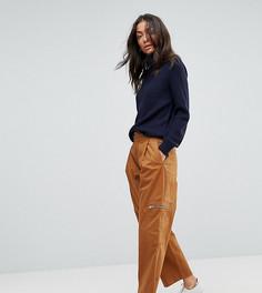 Светло-коричневые укороченные брюки с молниями ASOS TALL DAPHNE - Бесцветный