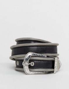 Черный узкий ремень из искусственной кожи с пряжкой в стиле вестерн ASOS - Черный