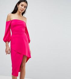 Платье миди с открытыми плечами и запахом на юбке ASOS TALL - Розовый