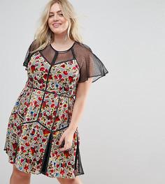 Бархатное платье мини с принтом и сетчатой отделкой Frock And Frill Plus - Мульти