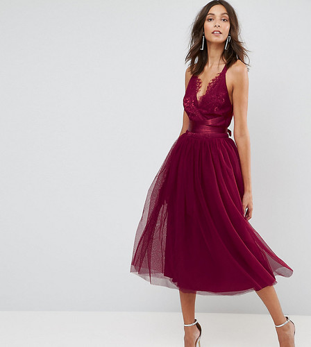 Платье миди для выпускного с кружевным лифом и тюлевой отделкой ASOS TALL PREMIUM - Розовый