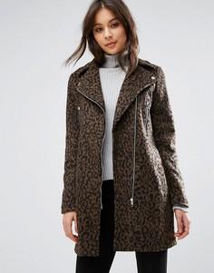 Байкерская куртка с леопардовым принтом Missguided - Мульти
