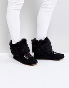 Черные кроссовки с меховой отделкой UGG Antoine - Черный