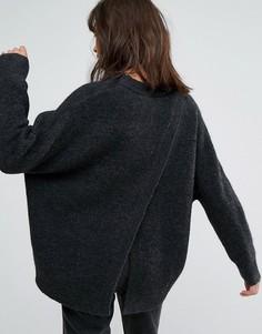 Вязаный джемпер с открытой спиной Weekday - Серый