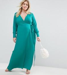Чайное платье макси с запахом и длинными рукавами ASOS CURVE - Зеленый