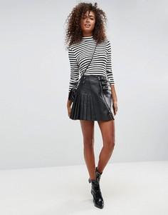Кожаная юбка с пряжками ASOS - Черный