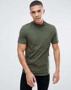 Обтягивающая футболка с асимметричным краем ASOS - Зеленый