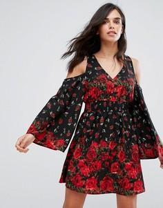 Платье с вырезами на плечах и цветочным принтом River Island - Мульти