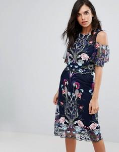 Двухслойное платье с вышивкой River Island - Темно-синий