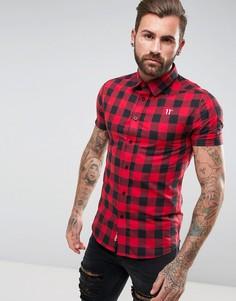 Красная облегающая рубашка в клетку 11 Degrees - Красный