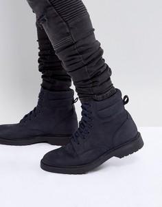 Темно-синие кожаные ботинки на шнуровке ASOS - Темно-синий