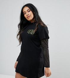 Платье-футболка с принтом Daisy Street Plus - Черный