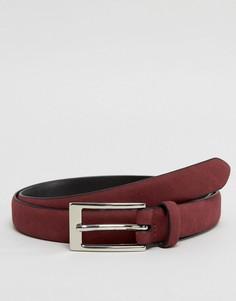 Узкий замшевый ремень бордового цвета Ben Sherman - Красный