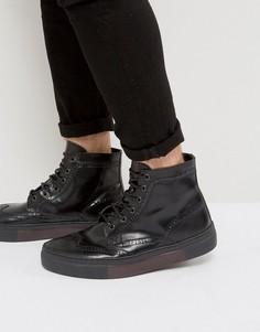 Черные кожаные броги на шнуровке ASOS - Рыжий