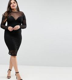 Облегающее кружевное платье миди ASOS CURVE - Черный