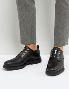 Кожаные туфли с люверсами Zign - Черный