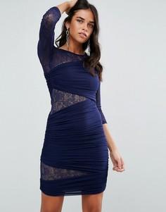 Облегающее платье с рукавами 3/4 и кружевными вставками Forever Unique - Темно-синий