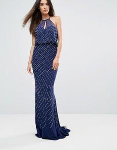 Платье макси с драпировкой на спине Forever Unique - Темно-синий