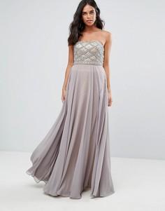 Платье макси с вырезом сердечком Forever Unique - Серый