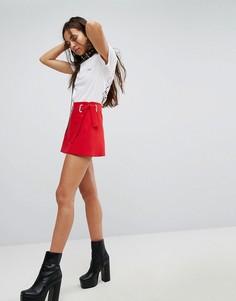 Мини-юбка с люверсами на поясе Hanger - Красный