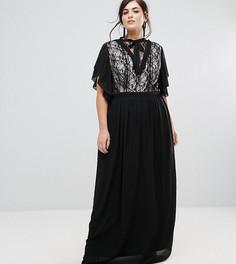 Платье макси с высоким воротом и кружевной вставкой TFNC Plus - Черный