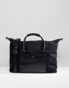Большая черная сумка с плетеной отделкой River Island - Черный