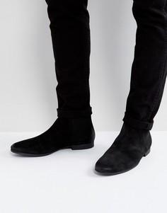 Черные замшевые ботинки челси River Island - Черный