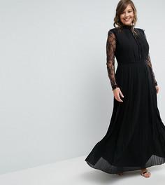 Плиссированное платье макси с высоким воротом и кружевными рукавами TFNC Plus WEDDING - Черный
