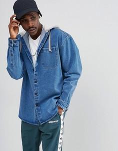 Джинсовая oversize-рубашка с капюшоном ASOS - Синий