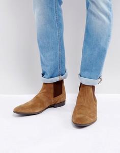 Светло-коричневые замшевые ботинки челси Pier One - Рыжий