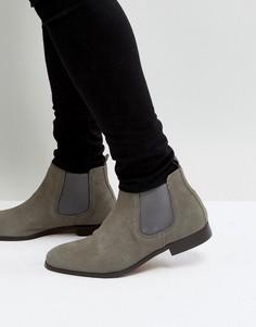 Серые замшевые ботинки челси Pier One - Серый