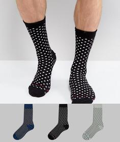 3 пары носков в горошек в подарочной упаковке ASOS - Изготовлено в Великобритании - Мульти