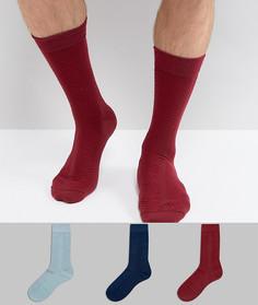 Подарочный набор из 3 пар фактурных носков (бордовый/зеленый/темно-синий) ASOS - Изготовлено в Великобритании - Мульти