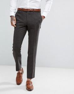 Коричневые брюки скинни из твида Moss London - Коричневый