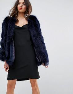 Меховая куртка с полосатой отделкой Jayley Luxurious - Темно-синий