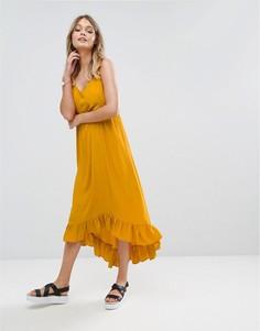Платье макси с асимметричным подолом River Island - Желтый