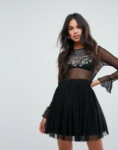Короткое приталенное платье с декоративной отделкой ASOS - Черный