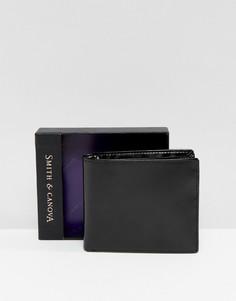 Черный блестящий кожаный бумажник Smith And Canova - Черный