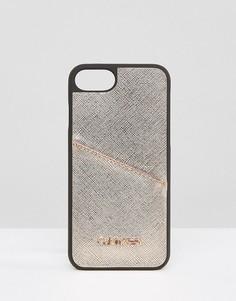 Чехол для Iphone 7 с оттенком металлик и логотипом Calvin Klein - Черный