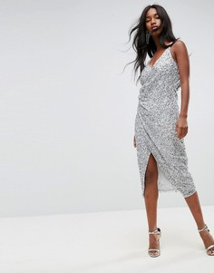 Платье миди с драпировкой ASOS - Серебряный