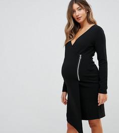Платье с запахом и боковой молнией ASOS Maternity NURSING - Черный