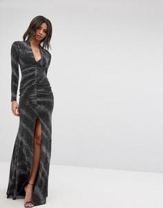 Полупрозрачное платье макси металлик с глубоким вырезом и разрезом City Goddess - Черный