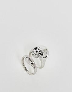 Серебристое кольцо с черепом ASOS HALLOWEEN - Серебряный