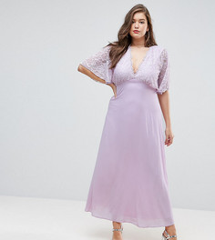 Платье макси с открытой спиной John Zack Plus - Фиолетовый