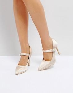 Атласные туфли на каблуке телесного цвета с искусственным жемчугом True Decadence - Розовый
