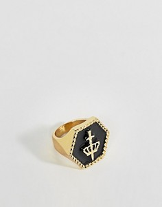 Золотистое кольцо-печатка с короной ASOS - Золотой
