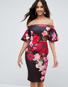 Платье миди с принтом и рукавами клеш Jessica Wright - Темно-синий