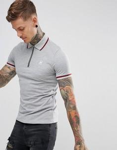 Серая футболка-поло с молнией Hype - Серый