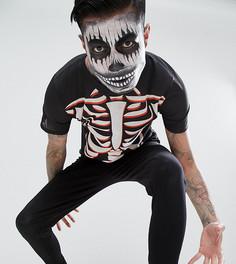 Пижама для Хэллоуина с принтом скелета SSDD - Черный